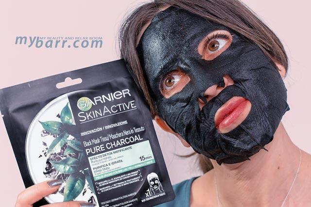 garnier maschera nera in tessuto pure charcoal detox mybarr prova