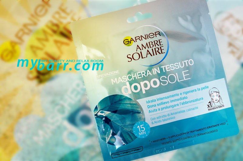 garnier ambre solaire maschera doposole in tessuto idratante calmante amamelide acido ialuronico mybarr