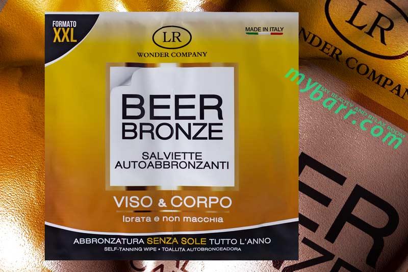 salviette autoabbronzanti e idratanti Beer Bronze di LR Wonder Company nel formato XXL per l'abbronzatura senza sole di viso e corpo in ogni stagione dell'anno mybarr