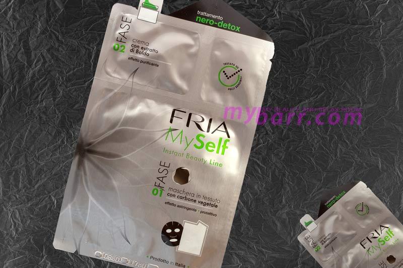 Fria MySelf maschera detox purificante: maschera nera con carbone più crema con estratto di bobolo mybarr