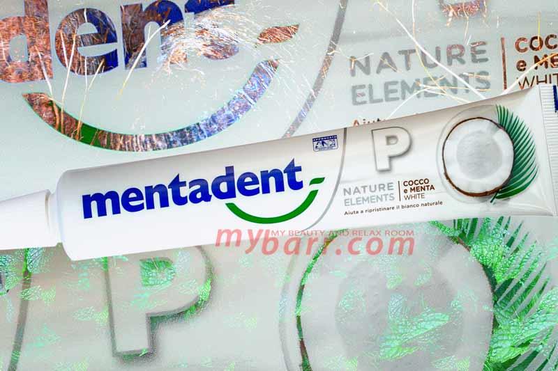 Mentadent cocco e menta natuale elements dentifricio antibatterico mybarr