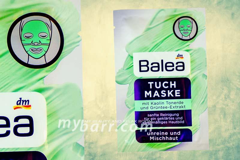 maschera argilla Balea in tessuto con argilla bianca e tè verde da DM mybarr