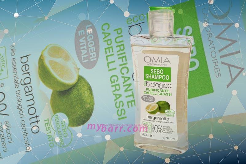 Omia sebo shampoo biologico purificante per capelli grassi al bergamotto mybarr