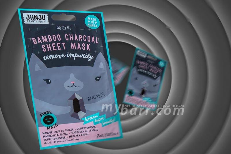 Jiinju bamboo charcoal sheet mask maschera viso purificante al carbone vegetale in tessuto nero mybarr