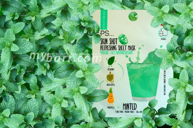 maschera rinfrescante PS skin shot refreshing sheet mask minted primark mybarr