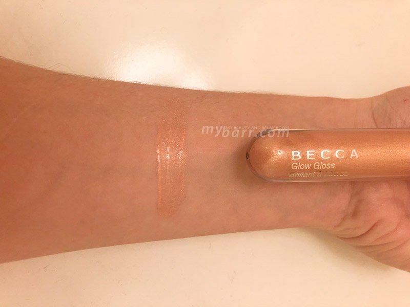 swatch di Becca Glow Gloss in tonalità Citrine