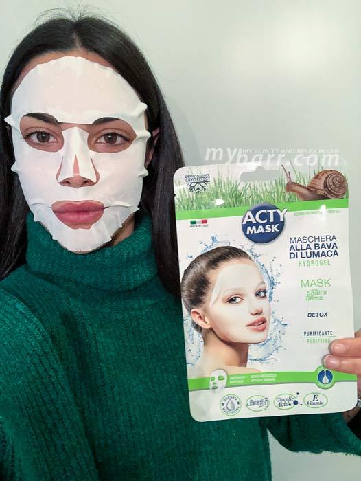 acty mask maschera hydrogel purificante alla bava di lumaca mybarr