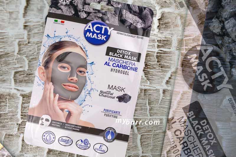 maschera al carbone hydrogel detox acty mask mybarr
