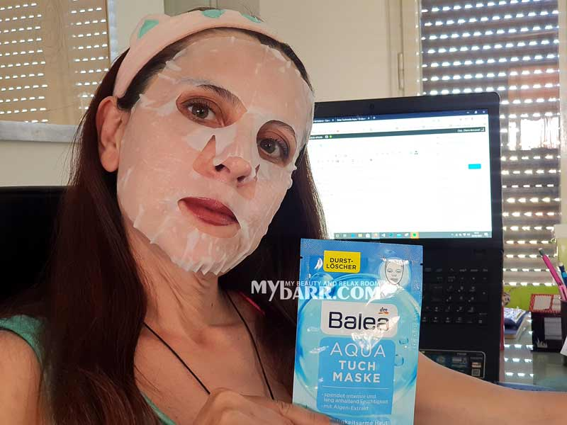 maschera idratante Balea Aqua Tuch Maske dm mybarr opinioni