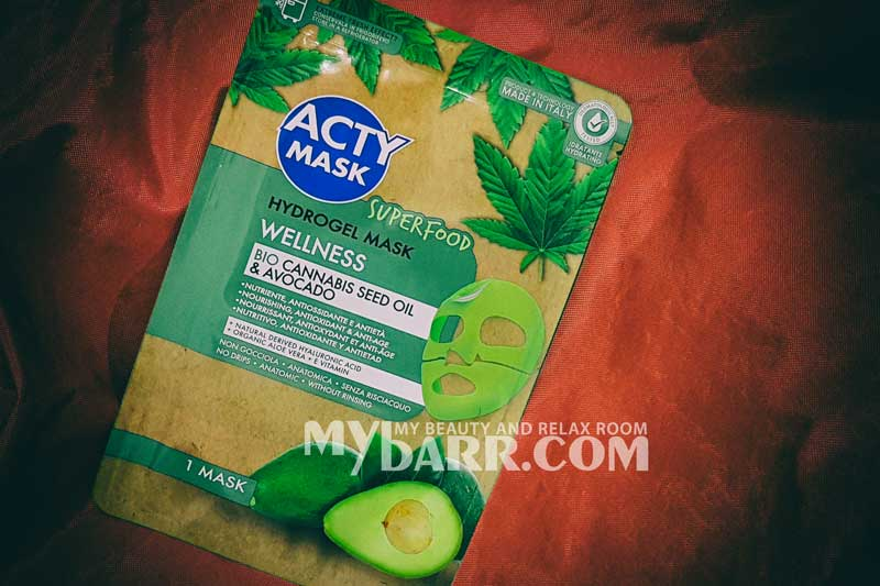 maschera hydrogel Acty Mask Wellness superfood canapa mybarr